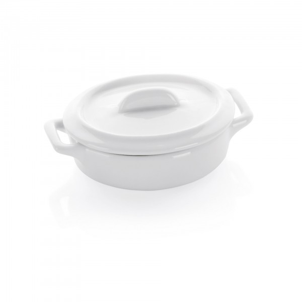 Mini-Topf - Porzellan - weiß - oval