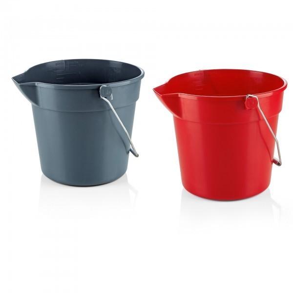 Eimer - Polypropylen - grau oder rot - mit Skalierung und Ausguss