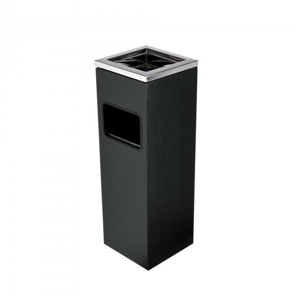 Standascher - Stahl - schwarz - eckig - mit abnehmbarem Windaschenbecher