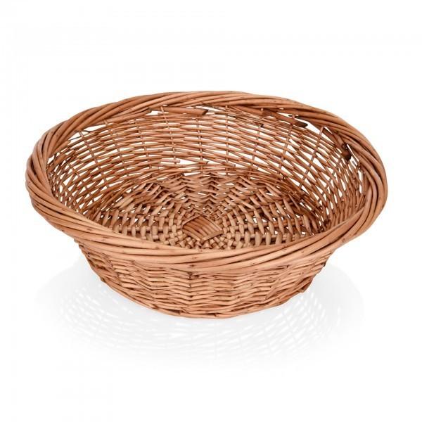 Buffetkorb - Serie Wood - Vollweide - braun - rund - gesotten