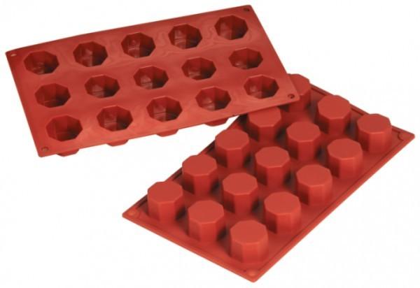 Silikon-Backform, Achteck, 15 Formen - 3,8x2,6 cm
