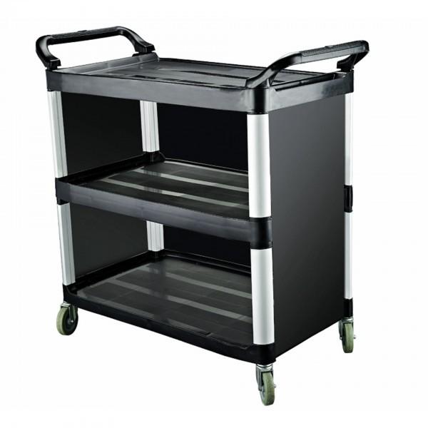 Servierwagen - Kunststoff - Alurahmen - 4 Schwenkrollen - premium Qualität