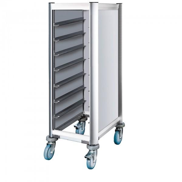 Tablettwagen - Aluminium - Aluoptik - für 7 Tabeltts - premium Qualität