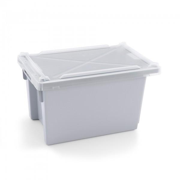 Transport- / Lagerkasten - Polypropylen - grau - mit Deckel