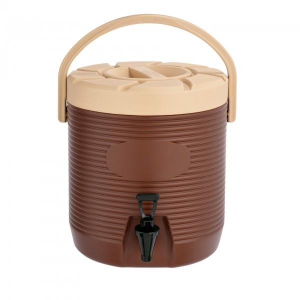 Thermogetränkebehälter - Kunststoff - braun - mit Schraubdeckel und Tragegriff - extra preiswert