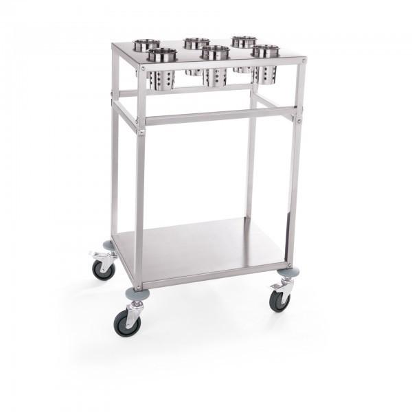 Tablett-/Besteckwagen - inkl. Besteckzylinder - Chromnickelstahl