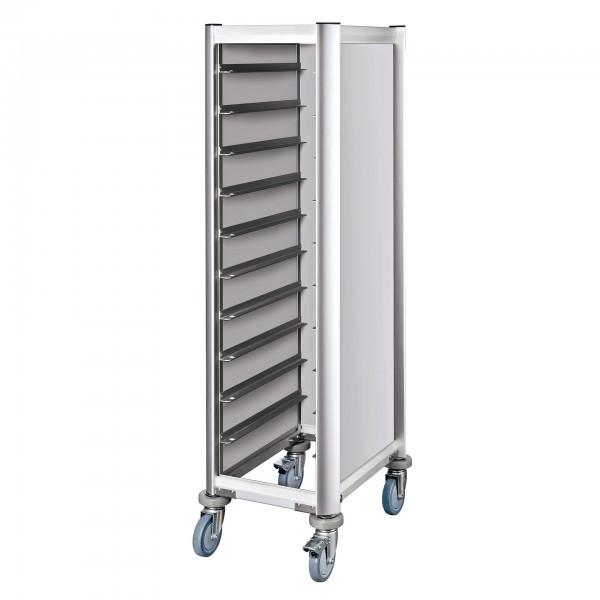 Tablettwagen - Aluminium - Aluoptik - passend für 10 Tabletts - premium Qualität