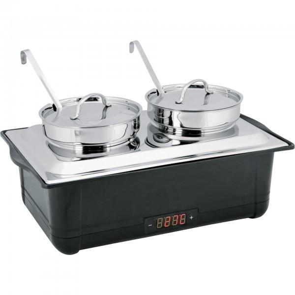 Elektro Suppenstation - Kunststoff / Edelstahl - mit 2 Suppentöpfen je 4 Liter und 2 Schöpfkellen - 1460 824