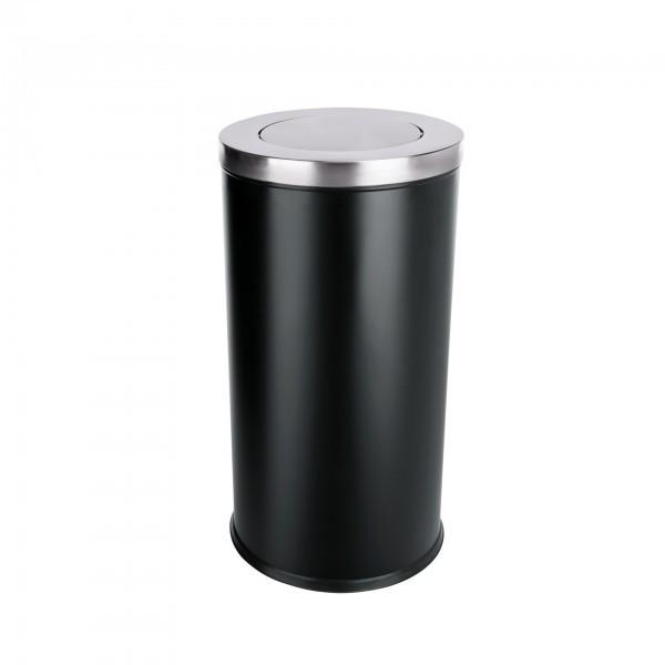 Abfalleimer - Stahl - schwarz - mit Schwingdeckel