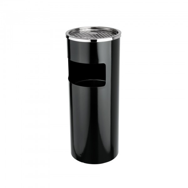 Standascher - Stahl - schwarz - rund - mit abnehmbarem Windaschenbecher